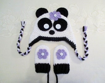 Panda Bear Crochet Hat and Mitten Set - Photo Prop - Available in Baby to Toddler Size - Any Color Combination