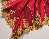 Red and Gold Satin Trim, Holiday Decor, Embroidered, Festive Red and Gold Christmas Trim, Santa Red, Lingerie Fabric,