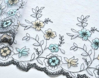Aqua, Gray, Yellow Water Flowers Trim, Blue Embroidered Floral Trim, Sea Foam, Painterly Tulle
