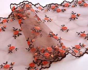 Chesnut Brown, Pumpkin Orange Rose Trim, Autumn Colors, Brown Floral Tulle Trim, Brown Lace Double Edged Trim,