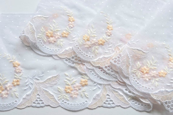 Peach, Pink, White Floral Wedding Trim, Pastel and White ...