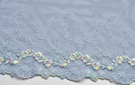 Blue Floral Embroidered Trim, Dodge Blue, Pastel Floral ...
