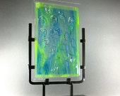 Art Glass Sculpture Abstract Fantasy Fused Glass Panel Hidden Faces Artist Signed