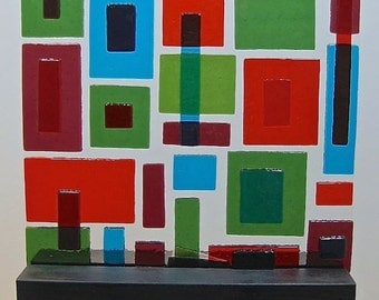 Mid Century Modern  Art Glass Sculpture Abstract Little Boxes Red Green Blue Artist Signed