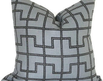 Celerie Kemble Bleecker Twilight Gray Decorative Pillow Cover, Square or Lumbar pillow - Accent Pillow, Throw Pillow