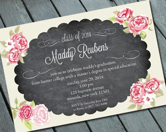 Graduation Party Invitation: Digital printable file *printing available upon request*