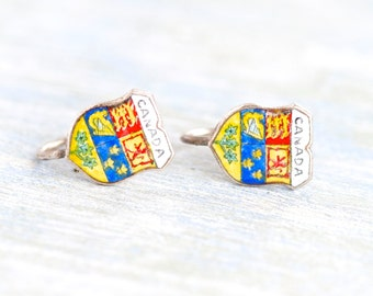 Canada Clip on Earrings - Vintage Coat of Arms Screw Backs