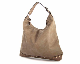 Leather Tote Bag Handbag in Vegan Leather Taupe Handmade and golden studs  - the Gwenole -  sale with coupon code TRACBAG30OFF345