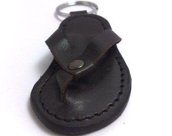NEW Keychain slipper shoes made with brown cowhide leather unique handwork leather craft Tizart