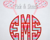 Heart Valentine Monogram Topper Applique Design Machine Embroidery INSTANT DOWNLOAD