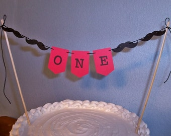 Birthday Cake Topper Banner First Bday Mini Garland Bunting One Year Old Boy Red Little Man