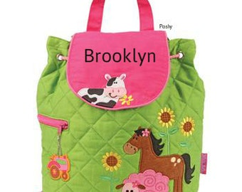 Personalized Toddler backpack, girls monogram backpack, Farm girl