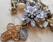 RESERVED FOR M: Vintage Assemblage Necklace, Rosary, Religious Medal, Cross, Rhinestone, Mother of Pearl, Pyrite, Repurposed