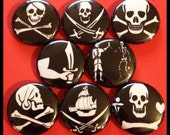 """8 Brand New 1"""" """"Pirate Jolly Roger"""" Button Set"""