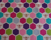 SALE Echino Bees Fabric Fall 2013, Bees in Pink and Purple by Etsuko Furuya for Kokka (Half Yard)