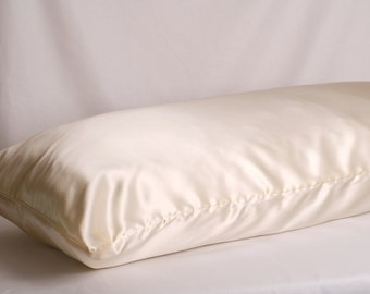 "Silk Body Pillowcase 21""x 55"", Charmeuse Silk, Many Colors,  French Seamed, Hypoallergenic, for Sensitive Skin"