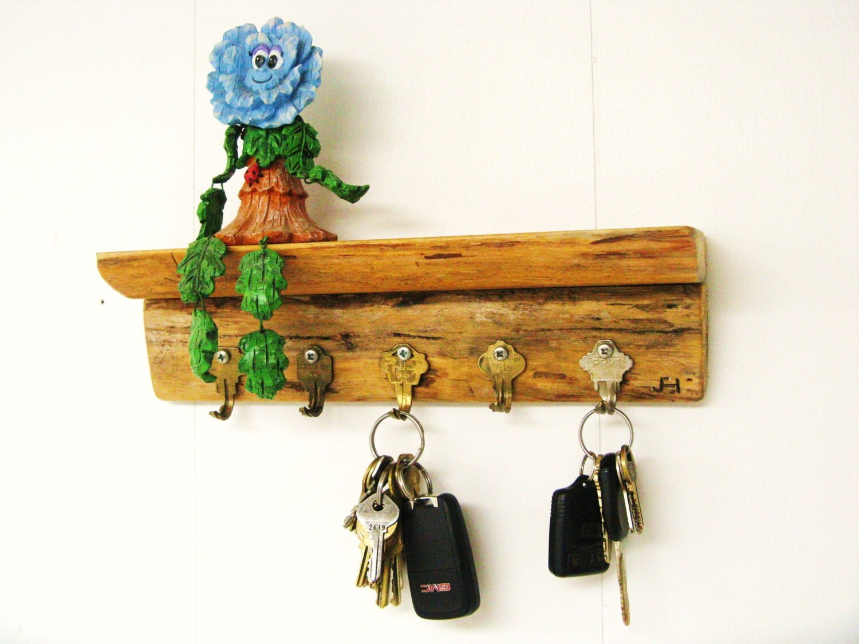jewelry key rack 12 rustic shelf w bent key hooks. Black Bedroom Furniture Sets. Home Design Ideas