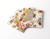 Small Paper Envelopes - Red Brown Beige - Floral Pattern - Set of 4 - DIY Supplies - Invitation Envelope - Small Notes