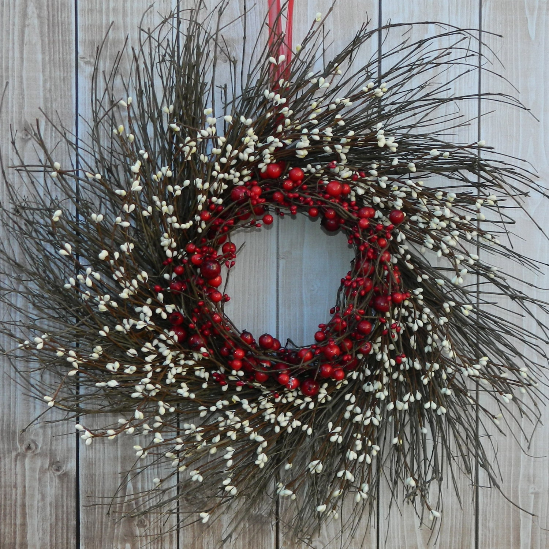Primitive Wreath - Red Wreath - Holiday Door Decoration - Christmas Decor