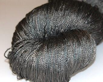 Mulberry silk yarn lace weight (2ply) 100g.(3.5 oz) handdyed yarn- Tobacco