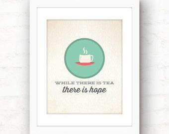 Kitchen tea decorations // teacup art // kitchen decor // there is hope
