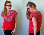 80s red black white marled fuzzy statement sleeveless sweater M