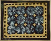 Wall Hanging in Gold Blue and Plum - Free Shipping - Art Quilt