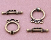 5 Sets 10pcs-3 loop OT toggle-Antique brass metal jewelry findings-6252