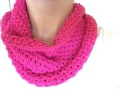 Knitted Cowl Pattern - Eyelet Pattern Bright Pink Sparkle Neckwarmer