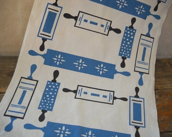 Midcentury Cannon Kitchen Towel with Retro Rolling Pin Graphics