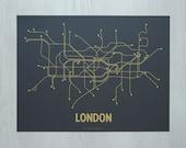 London Screen Print - Dark Gray/Mustard