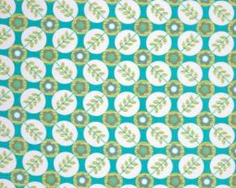 LAMINATED cotton fabric by the yard - Floradots turquoise aqua La Dee Da - WIDE - BPA free - Approved for children's products