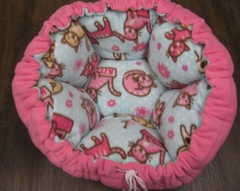 Pink and Blue Cat Themed Drawstring Round Flower Pet Bed
