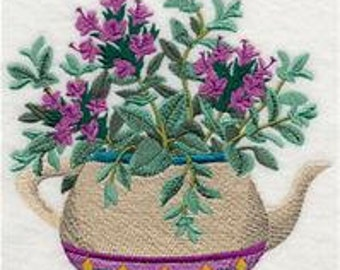 Herbal Tea Garden Tea Pot and Thyme Embroidered Flour Sack Hand/Dish Towel