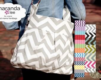 Emma Medium Diaper Bag - Chevron with CUSTOM Lining  - Messenger Bag Adjustable strap - Elastic pockets  zig zag