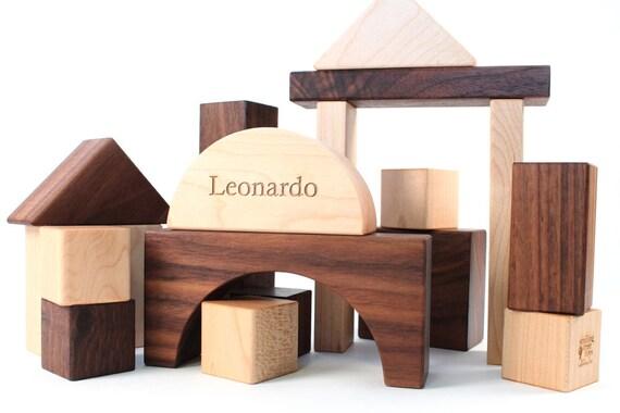 24-piece hardwood BUILDING BLOCKS - all natural wooden toy set, an heirloom gift for montessori baby, toddler, or preschooler