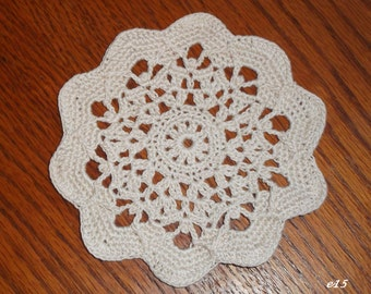 Hand-Crocheted Ecru Doily (e15)