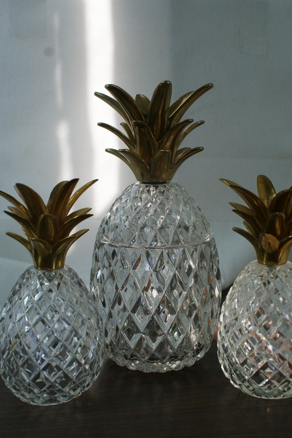 Reduced Glass Pineapple Box Crystal And Brass Pineapple Box