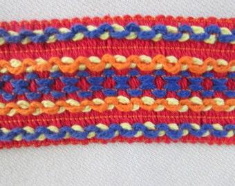 Vintage Colorful Wide Striped Trim, Vintage Woven Belt Trim, Vintage Ribbon Trim,  Seventies Woven Trim
