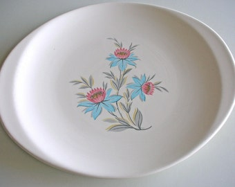Steubenville Fairlane Cake Plate and Oval Serving Platter  Cactus Rose Cake Plate from The Back part of the Basement