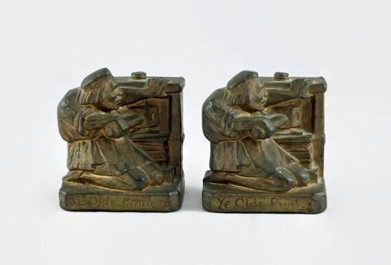 Vintage 1920 39 s armor bronze company bronze clad 39 ye - Armor bronze bookends ...