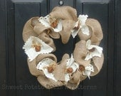 Primitive Fall Burlap Wreath with Rusty Bells HHCOFG Country Decor