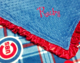 Personalized Chicago Cubs Baseball Plaid Fleece and Minky Baby Blanket