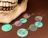 Verdigris Earrings, Deep Sea Pirate Treasures old looking green coins, Belly Dance Jewelry, thin chain Indie Free Spirit
