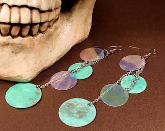 Verdigris Earrings, Deep Sea Pirate Treasures old looking green coins, Belly Dance Jewelry, thin chain Indie Free Spirit