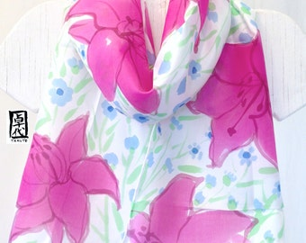 Silk Scarf Handpainted, Pink Floral Scarf, Blue Mini Daisies and Pink Lilies Scarf, White Silk Scarf. Approx 11x60 inches.