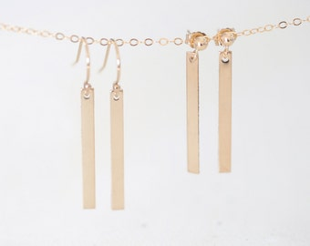 Gold Bar Earrings - 14k gold filled skinny bar dangle earrings, minimalist and modern simple jewelry