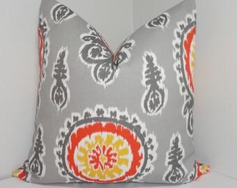 OUTDOOR Pillow Yellow Grey Orange Suzani Citrus Yellow & Grey Deck Patio Pillow Cover 18x18