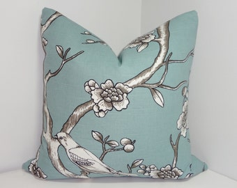 Robert Allen Dwell Studio Bird Print Blue Grey Pillow Cover Decorative Throw Pillow Cover 18x18