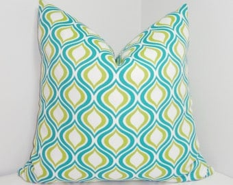 OUTDOOR Peacock Teal Green Pillow Cover Geometric Porch Deck Pillow Covers All Sizes